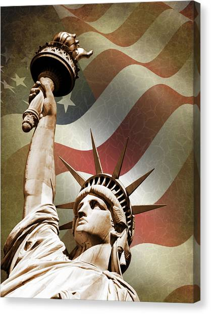 City Landscape Canvas Print - Statue Of Liberty by Mark Rogan