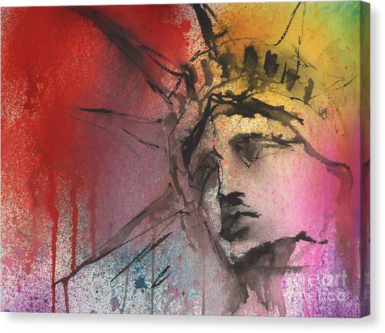 Statue Canvas Print - Statue Of Liberty New York Painting by Svetlana Novikova