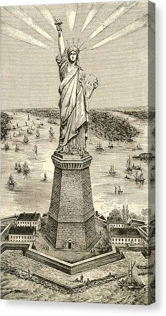 Neoclassical Art Canvas Print - Statue Of Liberty, New York by American School