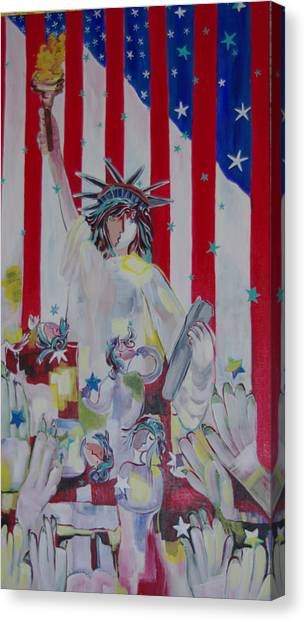Statue Of Liberty/ Reaching For Freedom Canvas Print