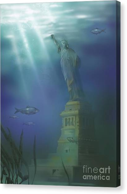 Drown Canvas Print - Statue Of Liberty Under Water by Gwen Shockey