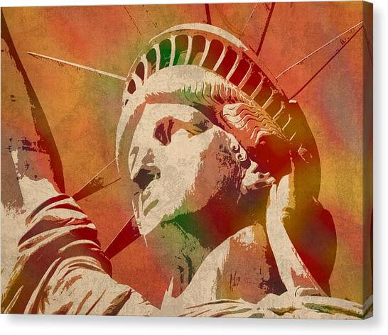Statue Portrait Canvas Print - Statue Of Liberty Watercolor Portrait No 1 by Design Turnpike
