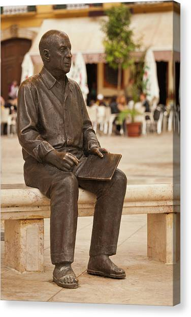 Pablo Picasso Canvas Print - Statue Of Pablo Picasso, Plaza De La by Panoramic Images