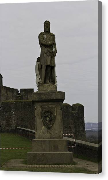 Statue Of Robert The Bruce On The Castle Esplanade At Stirling Castle Canvas Print