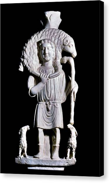 Hellenistic Art Canvas Print - Statue Of The Good Shepherd by Patrick Landmann/science Photo Library