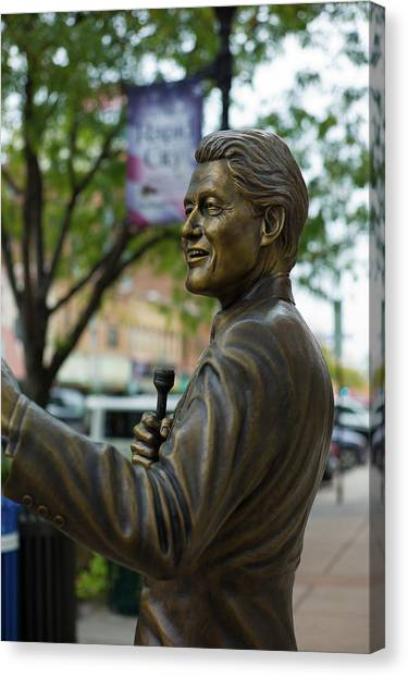 Bill Clinton Canvas Print - Statue Of Us President Bill Clinton by Panoramic Images