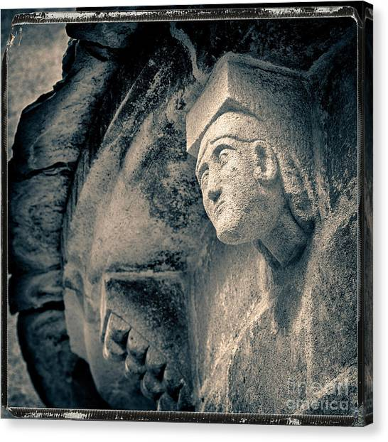 Romanesque Art Canvas Print - Statue On A Romanesque Church In Auvergne by Bernard Jaubert