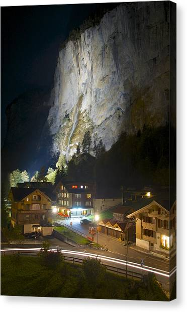 Staubbach Falls At Night In Lauterbrunnen Switzerland Canvas Print