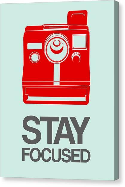 Film Camera Canvas Print - Stay Focused Polaroid Camera Poster 4 by Naxart Studio