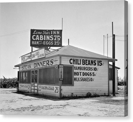 Eggs And Bacon Canvas Print - Steak And Chili In Tulare by Toni Hopper