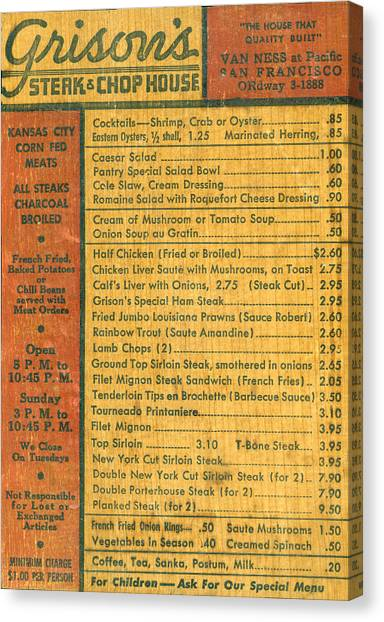Steak Canvas Print - Steak House Wooden Menu by Underwood Archives