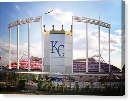Kansas City Royals Canvas Print - Stealth Bomber Over Kauffman Stadium by Raye Pond