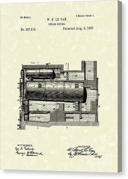 Steam Boiler 1887 Patent Art Canvas Print