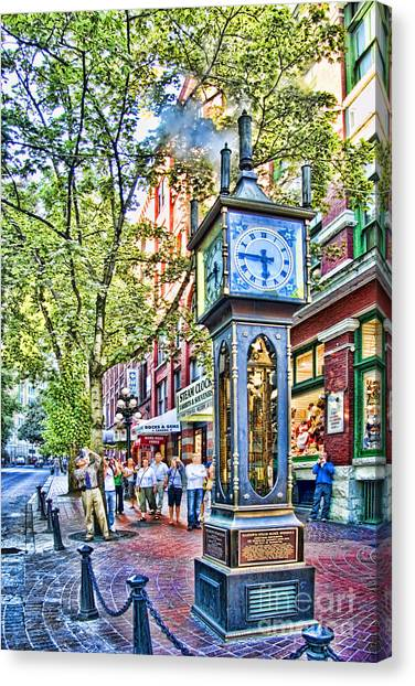 Steam Clock In Vancouver Gastown Canvas Print