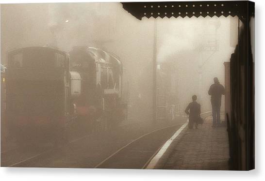 Steam Engines At Dawn Canvas Print