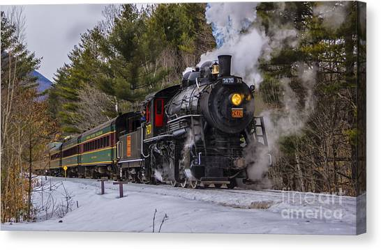 Steam In The Snow 2015 Canvas Print