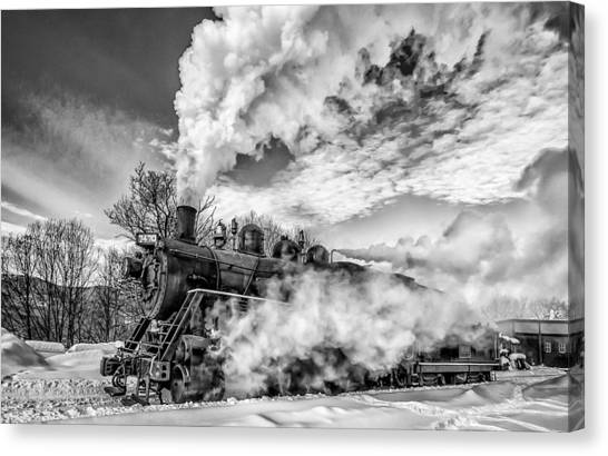 Steam In The Snow Black And White Version Canvas Print