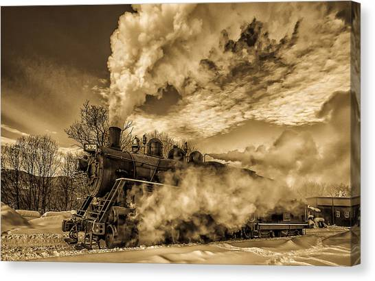 Steam In The Snow Canvas Print