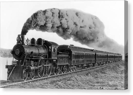 Trains Canvas Print - Steam Locomotive No. 999 - C. 1893 by Daniel Hagerman