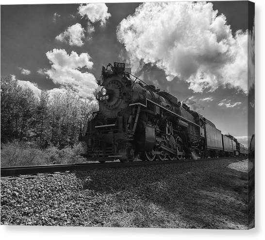 Steam Locomotive Passing Through Canvas Print