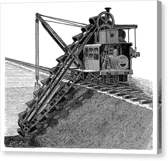 Excavators Canvas Print - Steam-powered Excavator by Science Photo Library