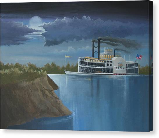 Sidewheelers Canvas Print - Steamboat On The Mississippi by Stuart Swartz