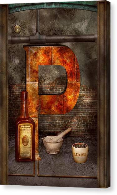 Self Discovery Canvas Print - Steampunk - Alphabet - P Is For Pharmacy by Mike Savad