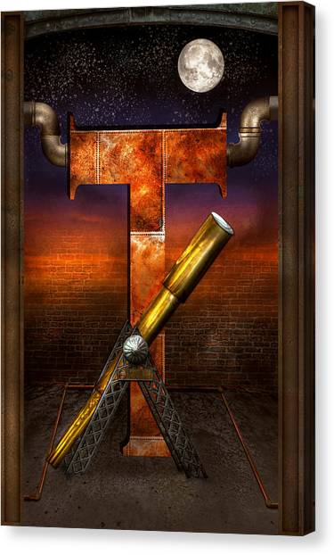 Self Discovery Canvas Print - Steampunk - Alphabet - T Is For Telescope by Mike Savad