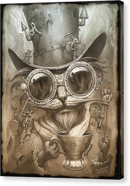 Russian Blue Canvas Print - Steampunk Cat by Jeff Haynie