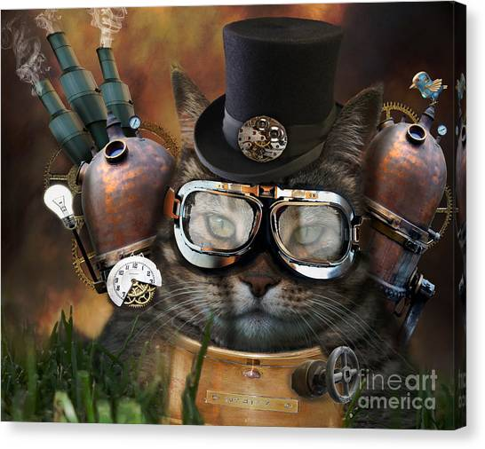 Futurism Canvas Print - Steampunk Cat by Juli Scalzi