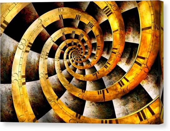 Vertigo Canvas Print - Steampunk - Clock - The Flow Of Time by Mike Savad