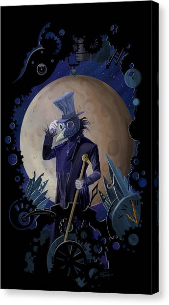 Ravens Canvas Print - Steampunk Crownman by Sassan Filsoof