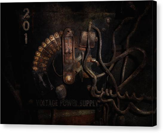 Ac Dc Canvas Print - Steampunk - Electrical - Rotary Switch by Mike Savad