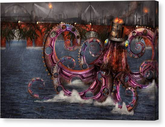 Automaton Canvas Print - Steampunk - Enteroctopus Magnificus Roboticus by Mike Savad