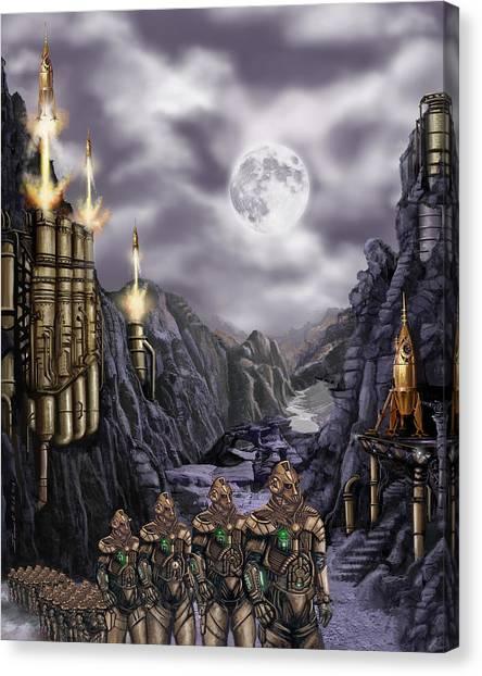 Steampunk Moon Invasion Canvas Print