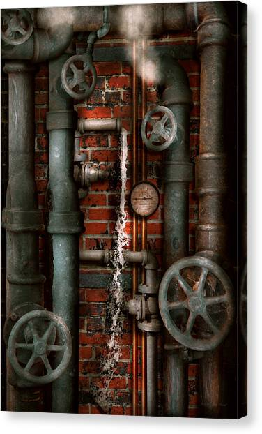 Abstraction Canvas Print - Steampunk - Plumbing - Pipes And Valves by Mike Savad