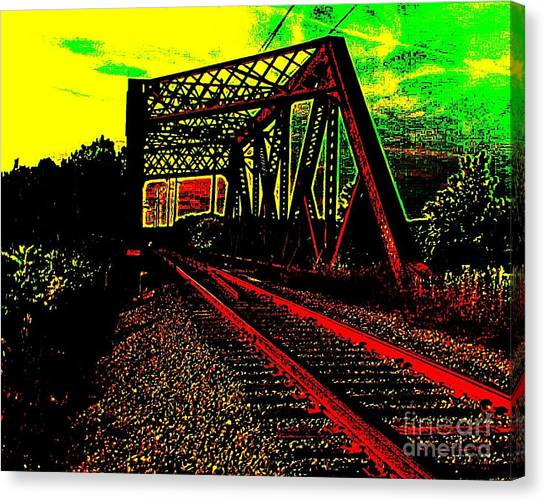 Steampunk Railroad Truss Bridge Canvas Print