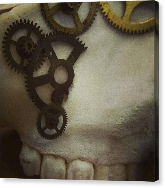 Steampunk Canvas Print - #steampunk #skull #clockworks #cogs by Heidi Cutter