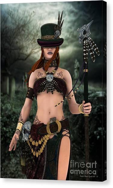 Steampunk Voodoo Canvas Print by Sandra Bauser Digital Art