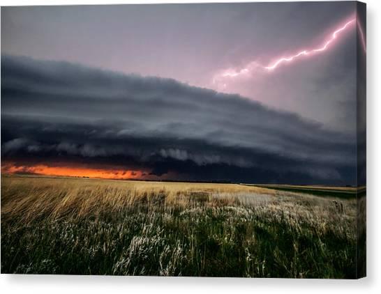 Prairie Sunsets Canvas Print - Steamroller - Storm Spans Horizon In Kansas by Sean Ramsey