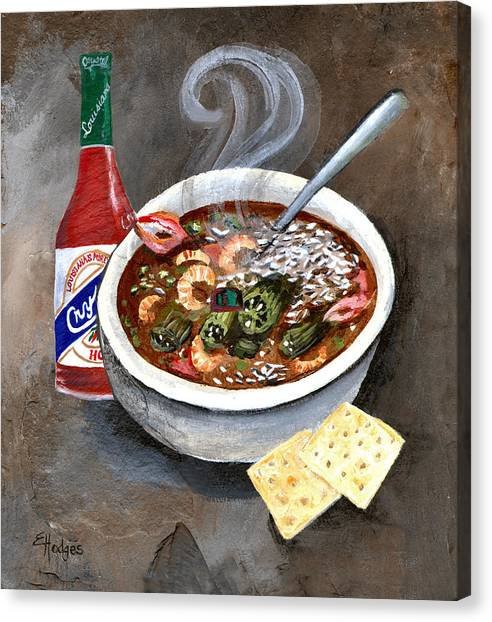 Hot Sauce Canvas Print - Steamy Gumbo by Elaine Hodges
