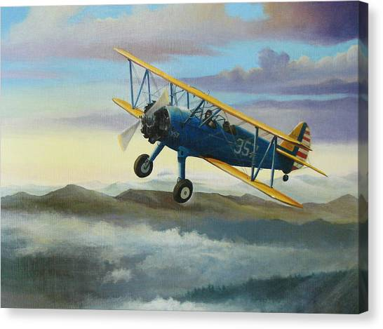 Airplanes Canvas Print - Stearman Biplane by Stuart Swartz