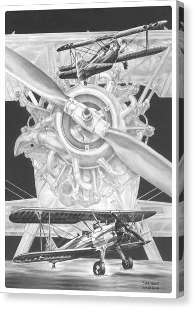 Stearman - Vintage Biplane Aviation Art Canvas Print