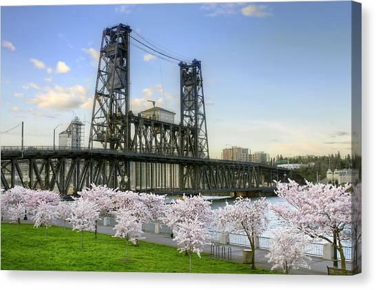 Steel Bridge And Cherry Blossom Trees In Portland Oregon Canvas Print