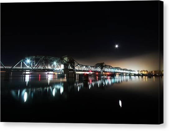Steel Bridge Moon Canvas Print by Ty Helbach