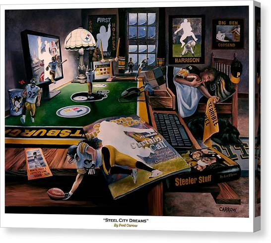 Ben Roethlisberger Canvas Print - Steel City Dreams by Fred Carrow