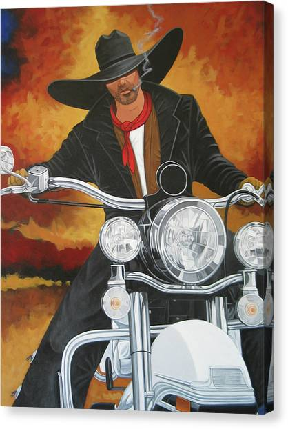Contemporary Cowboy Art Canvas Print - Steel Pony by Lance Headlee