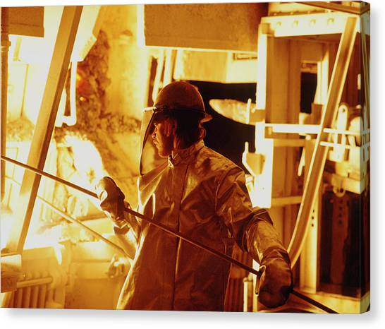 Protective Clothing Canvas Print - Steel Production by Maximilian Stock Ltd/science Photo Library
