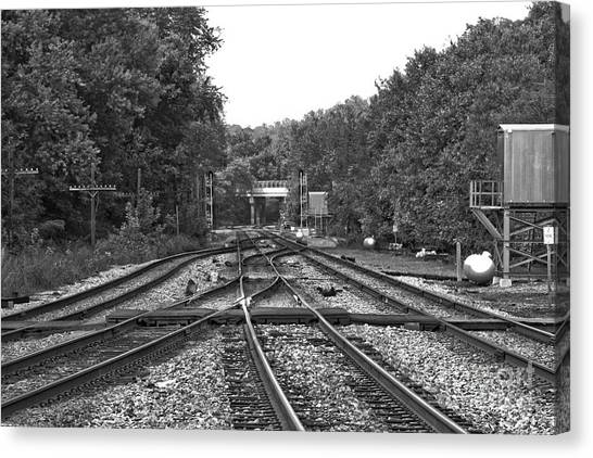 Steel Rail Intersections.   Point Of Rocks Md Canvas Print