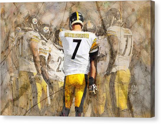 Ben Roethlisberger Canvas Print - Steelers Huddle Up by John Farr